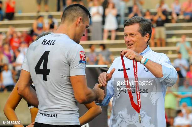Craig Hall of Toronto Wolfpack celebrates a victory after the Super 8s Round 7 game between Toronto Wolfpack vs Doncaster RLFC at Allan A Lamport...
