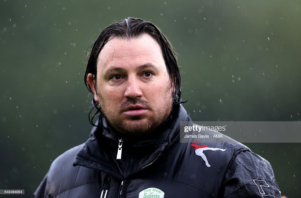 Craig Harrison the head coach / manager of The New Saints during the UEFA Champions League First Round Qualifier match between The New Saints and SP Tre Penne at Park Hall on June 28, 2016 in Oswestry, England.