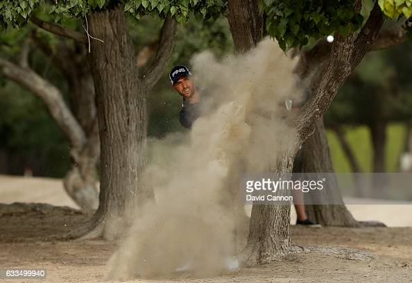 Craig Hinton of England plays his second shot to the par 5 10th hole during the first round of the 2017 Omega Dubai Desert Classic on the Majlis...