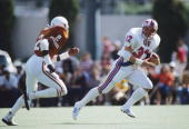 Craig James of the SMU Mustangs carries the ball during a game against the University of Texas Longhorns on October 23 1982 in Austin Texas The...