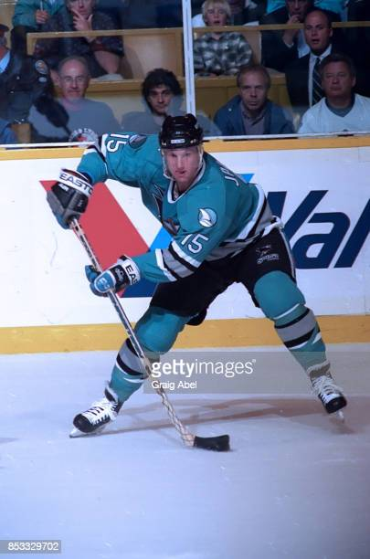 Craig Janney of the San Jose Sharks skates against the Toronto Maple Leafs during NHL game action on October 17 1995 at Maple Leaf Gardens in Toronto...