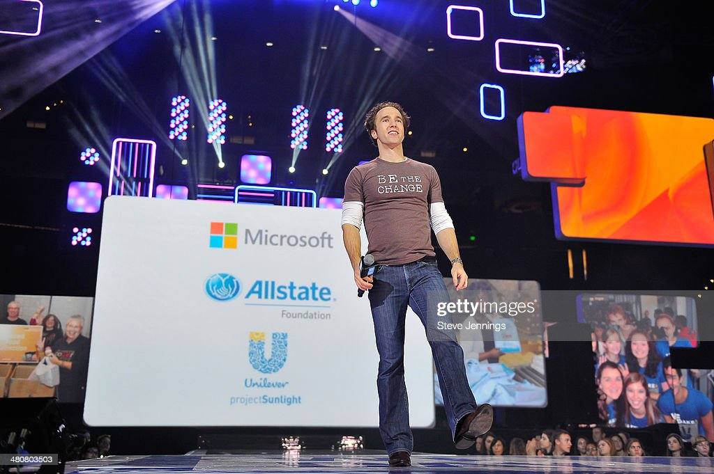 Craig Kielburger in Oakland, CA speaks about youth empowerment to 16,000 students and educators at the first We Day California at ORACLE Arena on March 26, 2014 in Oakland, California.