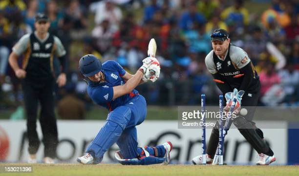 Craig Kieswetter of England is bowled by Daniel Vettori of New Zealand during the ICC World Twenty20 2012 Super Eights Group 1 match between England...
