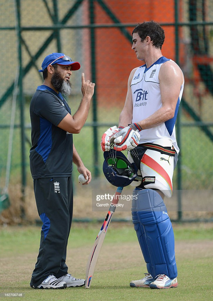 Craig Kieswetter of England speaks with spin bowling coach Mushtaq Ahmed during a nets session at P Sara Oval on September 24 2012 in Colombo Sri...