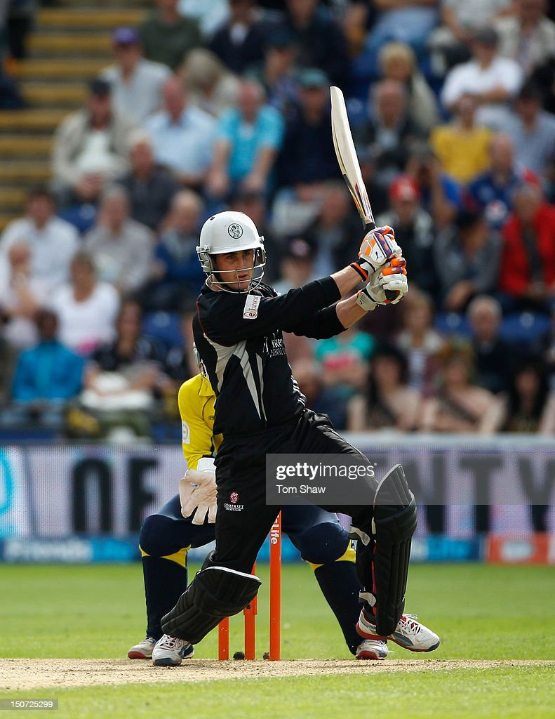 <a gi-track='captionPersonalityLinkClicked' href=/galleries/search?phrase=Craig+Kieswetter&family=editorial&specificpeople=4267430 ng-click='$event.stopPropagation()'>Craig Kieswetter</a> of Somerset hits out during the Friends Life T20 Semi Final match between Hampshire and Somerset at SWALEC Stadium on August 25, 2012 in Cardiff, Wales.