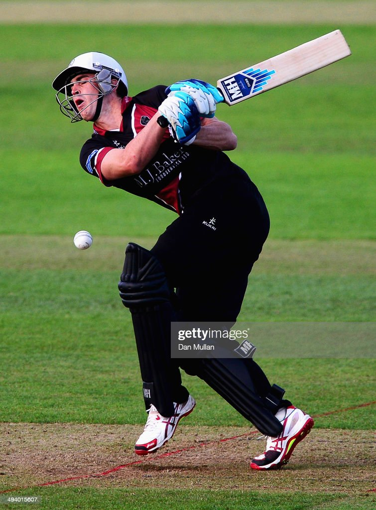 <a gi-track='captionPersonalityLinkClicked' href=/galleries/search?phrase=Craig+Kieswetter&family=editorial&specificpeople=4267430 ng-click='$event.stopPropagation()'>Craig Kieswetter</a> of Somerset is hit by a ball during the Natwest t20 Blast match between Somerset and Kent at The County Ground on May 23, 2014 in Taunton, England.