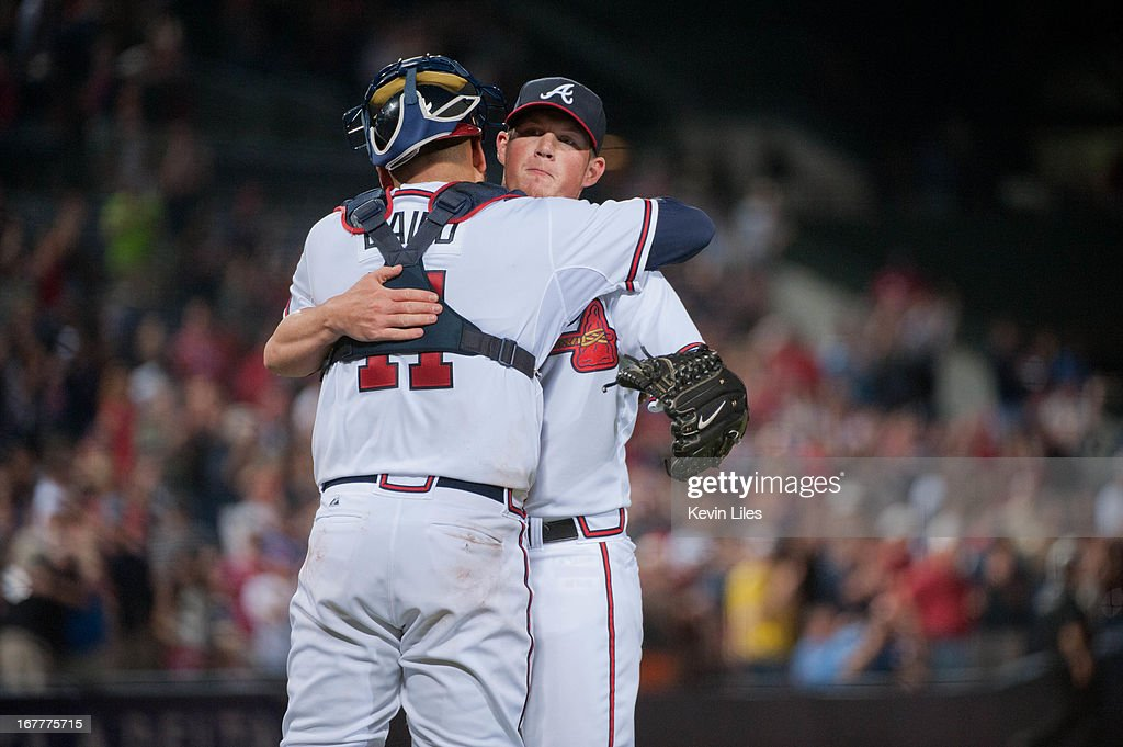 <a gi-track='captionPersonalityLinkClicked' href=/galleries/search?phrase=Craig+Kimbrel&family=editorial&specificpeople=6795784 ng-click='$event.stopPropagation()'>Craig Kimbrel</a> #46 of the Atlanta Braves and <a gi-track='captionPersonalityLinkClicked' href=/galleries/search?phrase=Gerald+Laird&family=editorial&specificpeople=228949 ng-click='$event.stopPropagation()'>Gerald Laird</a> #11 of the Atlanta Braves celebrate their win over Washington Nationals at Turner Field on April 29, 2013 in Atlanta, Georgia. The Braves defeated the Nationals 3-2.