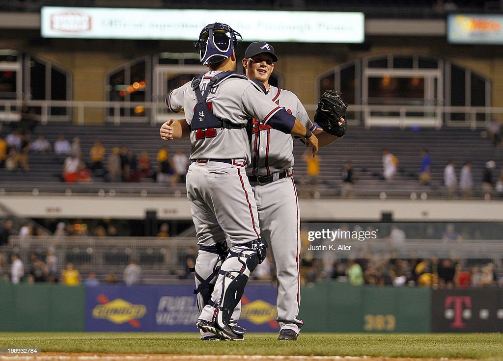 Craig Kimbrel #46 of the Atlanta Braves celebrates after closing out the ninth inning against the Pittsburgh Pirates during the game on April 18, 2013 at PNC Park in Pittsburgh, Pennsylvania. The Braves defeated the Pirates 6-4.