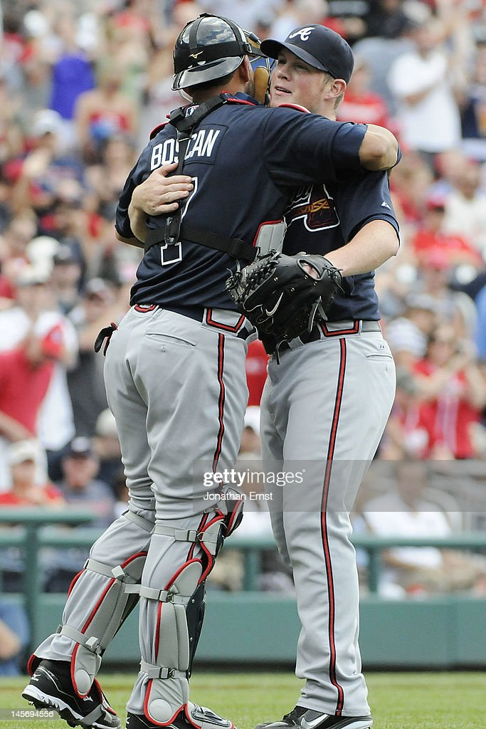 <a gi-track='captionPersonalityLinkClicked' href=/galleries/search?phrase=Craig+Kimbrel&family=editorial&specificpeople=6795784 ng-click='$event.stopPropagation()'>Craig Kimbrel</a> #46 (R) of the Atlanta Braves celebrates with catcher <a gi-track='captionPersonalityLinkClicked' href=/galleries/search?phrase=J.C.+Boscan&family=editorial&specificpeople=4921766 ng-click='$event.stopPropagation()'>J.C. Boscan</a> #7 after striking out the side for a save against the Washington Nationals in the ninth inning of their game at Nationals Park on June 3, 2012 in Washington, DC.