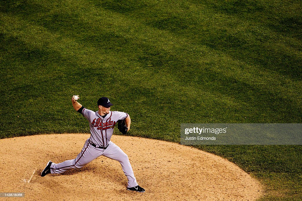 Craig Kimbrel #46 of the Atlanta Braves delivers during the 11th inning against the Colorado Rockies at Coors Field on May 4, 2012 in Denver, Colorado. Kimbrel earned the win as the Braves defeated the Rockies 9-8 in 11 innings.