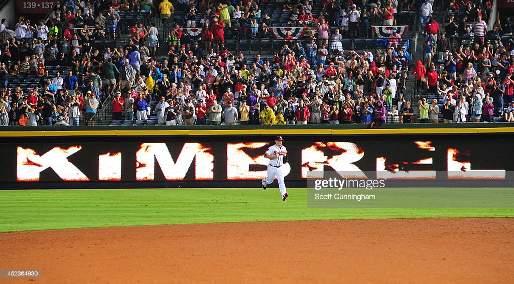 <a gi-track='captionPersonalityLinkClicked' href=/galleries/search?phrase=Craig+Kimbrel&family=editorial&specificpeople=6795784 ng-click='$event.stopPropagation()'>Craig Kimbrel</a> #46 of the Atlanta Braves enters the game to pitch the ninth inning against the Philadelphia Phillies at Turner Field on July 18, 2014 in Atlanta, Georgia.