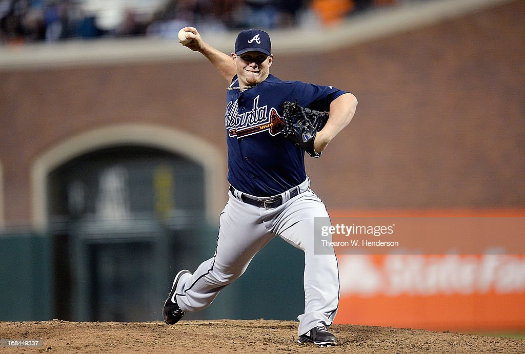 <a gi-track='captionPersonalityLinkClicked' href=/galleries/search?phrase=Craig+Kimbrel&family=editorial&specificpeople=6795784 ng-click='$event.stopPropagation()'>Craig Kimbrel</a> #46 of the Atlanta Braves pitches against the San Francisco Giants in the ninth inning at AT&T Park on May 9, 2013 in San Francisco, California. The Braves won the game 6-3.