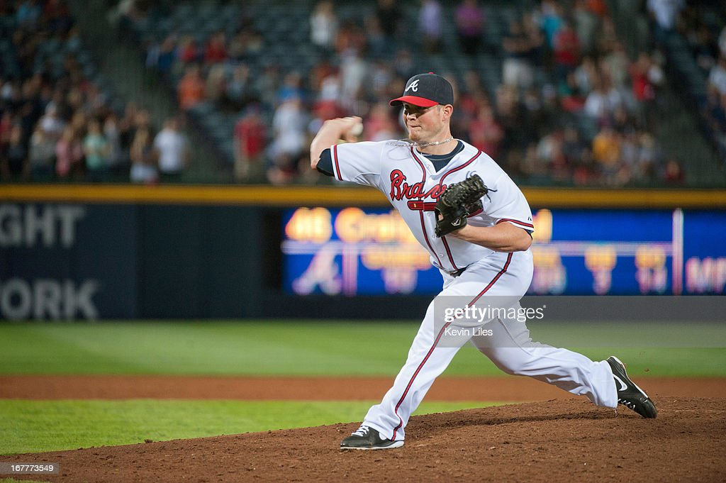 <a gi-track='captionPersonalityLinkClicked' href=/galleries/search?phrase=Craig+Kimbrel&family=editorial&specificpeople=6795784 ng-click='$event.stopPropagation()'>Craig Kimbrel</a> #46 of the Atlanta Braves pitches against the Washington Nationals during the 9th inning at Turner Field on April 29, 2013 in Atlanta, Georgia. The Braves defeated the Nationals 3-2.