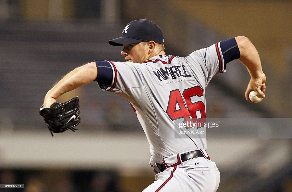 Craig Kimbrel #46 of the Atlanta Braves pitches in the ninth inning against the Pittsburgh Pirates during the game on April 18, 2013 at PNC Park in Pittsburgh, Pennsylvania. The Braves defeated the Pirates 6-4.