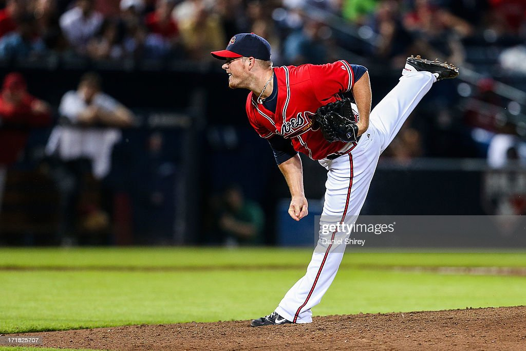 <a gi-track='captionPersonalityLinkClicked' href=/galleries/search?phrase=Craig+Kimbrel&family=editorial&specificpeople=6795784 ng-click='$event.stopPropagation()'>Craig Kimbrel</a> #46 of the Atlanta Braves pitches in the ninth inning against the Arizona Diamondbacks at Turner Field on June 28, 2013 in Atlanta, Georgia. The Braves won 3-0.