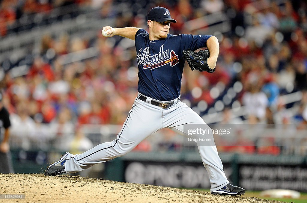 <a gi-track='captionPersonalityLinkClicked' href=/galleries/search?phrase=Craig+Kimbrel&family=editorial&specificpeople=6795784 ng-click='$event.stopPropagation()'>Craig Kimbrel</a> #46 of the Atlanta Braves pitches in the ninth inning against the Washington Nationals at Nationals Park on August 6, 2013 in Washington, DC. Atlanta won the game 2-1.