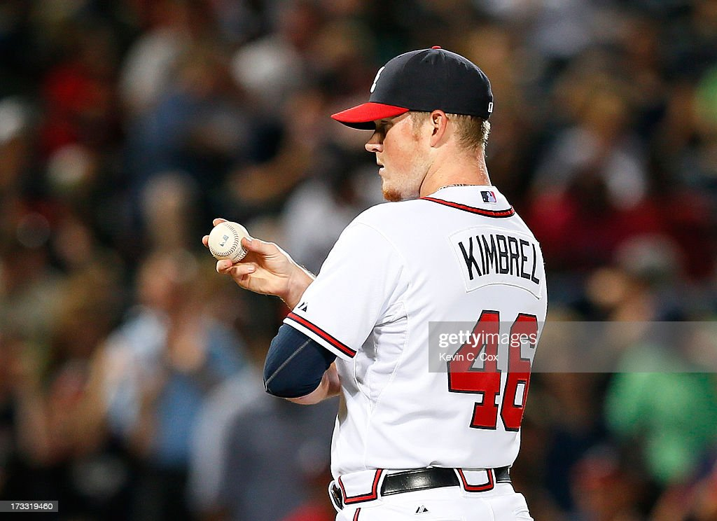 <a gi-track='captionPersonalityLinkClicked' href=/galleries/search?phrase=Craig+Kimbrel&family=editorial&specificpeople=6795784 ng-click='$event.stopPropagation()'>Craig Kimbrel</a> #46 of the Atlanta Braves pitches in the ninth inning to the Cincinnati Reds at Turner Field on July 11, 2013 in Atlanta, Georgia.
