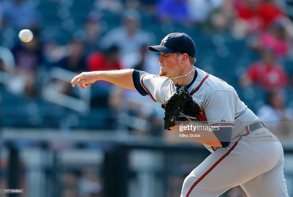 <a gi-track='captionPersonalityLinkClicked' href=/galleries/search?phrase=Craig+Kimbrel&family=editorial&specificpeople=6795784 ng-click='$event.stopPropagation()'>Craig Kimbrel</a> #46 of the Atlanta Braves pitches in the tenth inning against the New York Mets at Citi Field on August 21, 2013 at Citi Field in the Flushing neighborhood of the Queens borough of New York City. Braves defeated the Mets 4-1.