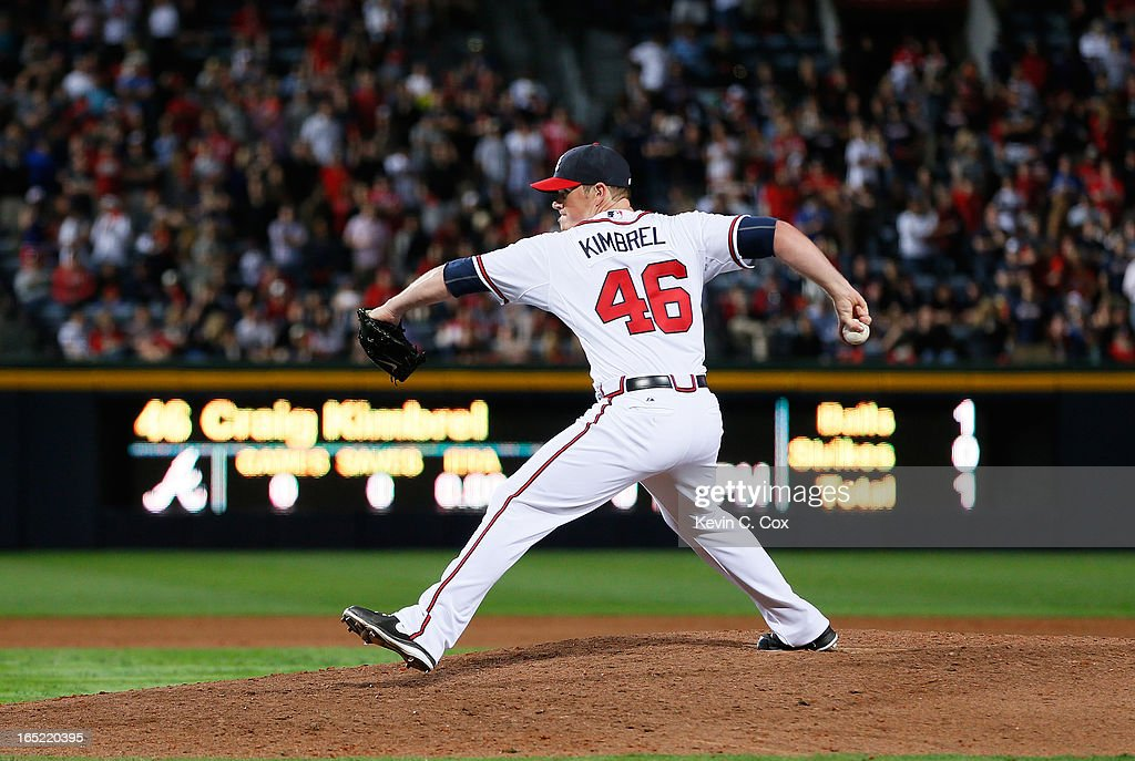 <a gi-track='captionPersonalityLinkClicked' href=/galleries/search?phrase=Craig+Kimbrel&family=editorial&specificpeople=6795784 ng-click='$event.stopPropagation()'>Craig Kimbrel</a> #46 of the Atlanta Braves pitches to the Philadelphia Phillies in the ninth inning during Opening Day at Turner Field on April 1, 2013 in Atlanta, Georgia.