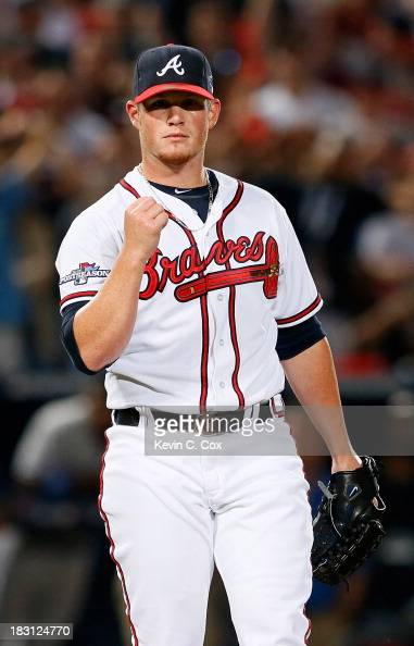 Craig Kimbrel of the Atlanta Braves reacts after striking out Carl Crawford of the Los Angeles Dodgers in the ninth inning to end Game Two of the...