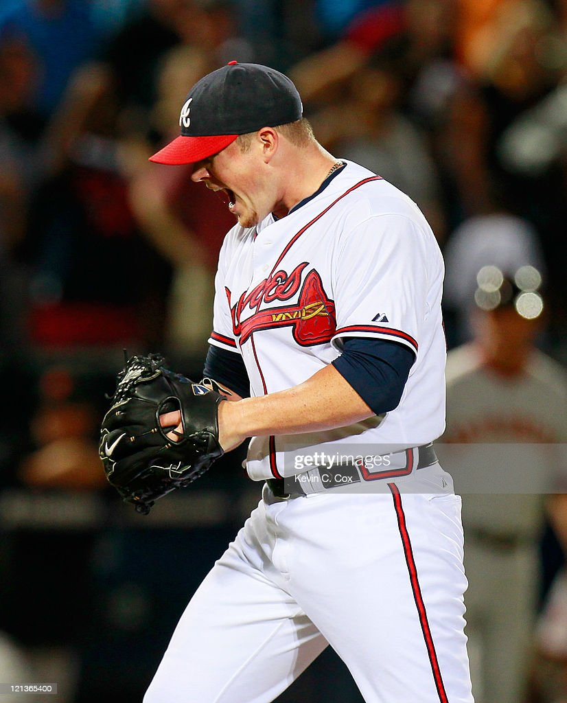 <a gi-track='captionPersonalityLinkClicked' href=/galleries/search?phrase=Craig+Kimbrel&family=editorial&specificpeople=6795784 ng-click='$event.stopPropagation()'>Craig Kimbrel</a> #46 of the Atlanta Braves reacts after their 1-0 win over the San Francisco Giants at Turner Field on August 18, 2011 in Atlanta, Georgia.