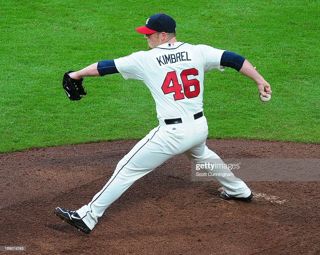 <a gi-track='captionPersonalityLinkClicked' href=/galleries/search?phrase=Craig+Kimbrel&family=editorial&specificpeople=6795784 ng-click='$event.stopPropagation()'>Craig Kimbrel</a> #46 of the Atlanta Braves throws a ninth inning pitch against the Los Angeles Dodgers at Turner Field on May 19, 2013 in Atlanta, Georgia.