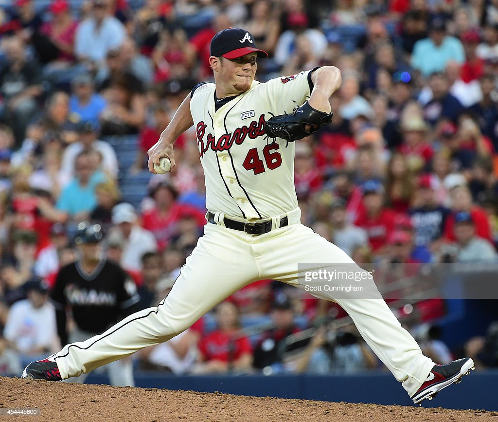 <a gi-track='captionPersonalityLinkClicked' href=/galleries/search?phrase=Craig+Kimbrel&family=editorial&specificpeople=6795784 ng-click='$event.stopPropagation()'>Craig Kimbrel</a> #46 of the Atlanta Braves throws a ninth inning pitch against the Miami Marlins at Turner Field on August 31, 2014 in Atlanta, Georgia.