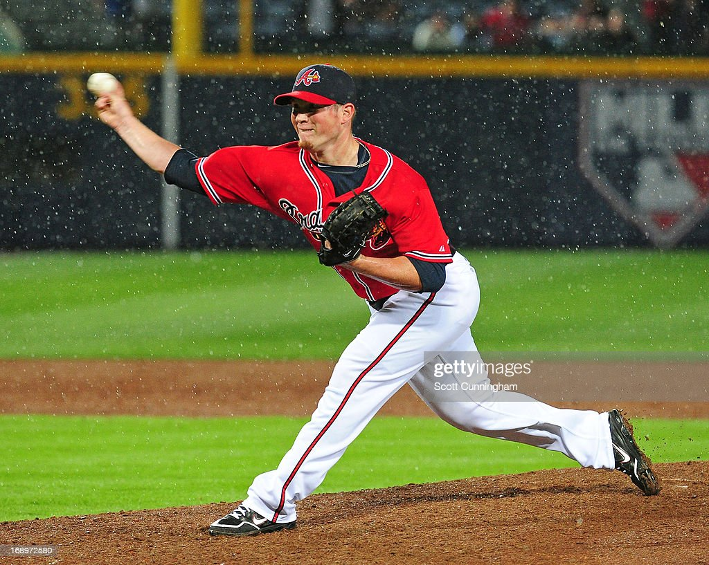 <a gi-track='captionPersonalityLinkClicked' href=/galleries/search?phrase=Craig+Kimbrel&family=editorial&specificpeople=6795784 ng-click='$event.stopPropagation()'>Craig Kimbrel</a> #46 of the Atlanta Braves throws a ninth-inning pitch against the Los Angeles Dodgers at Turner Field on May 17, 2013 in Atlanta, Georgia.