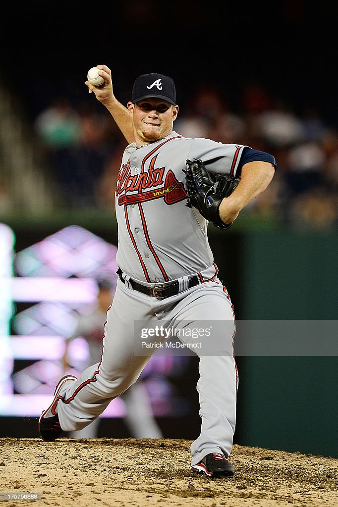 <a gi-track='captionPersonalityLinkClicked' href=/galleries/search?phrase=Craig+Kimbrel&family=editorial&specificpeople=6795784 ng-click='$event.stopPropagation()'>Craig Kimbrel</a> #46 of the Atlanta Braves throws a pitch in the ninth inning during a game against the Washington Nationals at Nationals Park on August 7, 2013 in Washington, DC.