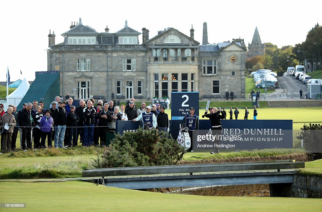 Craig Lee of Scotland drives off the second tee during the first round of the Alfred Dunhill Links Championship on The Old Course, at St Andrews on September 26, 2013 in St Andrews, Scotland.