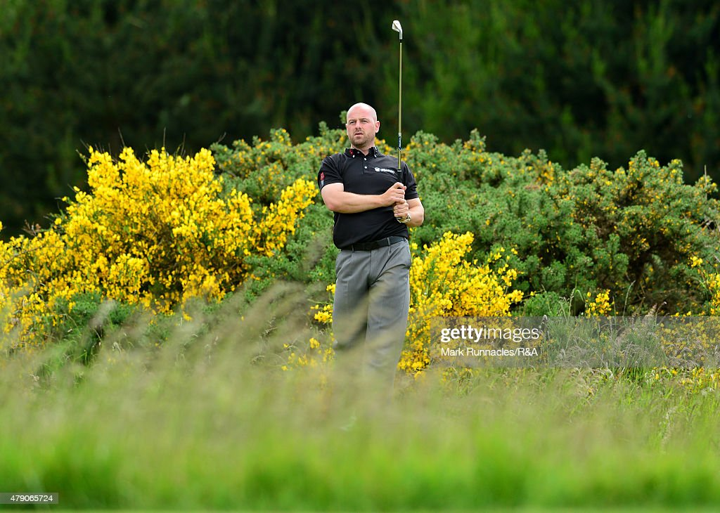 <a gi-track='captionPersonalityLinkClicked' href=/galleries/search?phrase=Craig+Lee&family=editorial&specificpeople=2959657 ng-click='$event.stopPropagation()'>Craig Lee</a> of Scotland in action during the final qualifying for the Open Championship at Gailes Links Golf Course on June 30, 2015 in Irvine, Scotland.