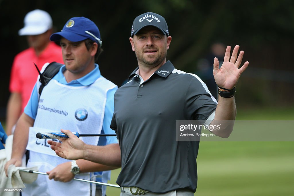 <a gi-track='captionPersonalityLinkClicked' href=/galleries/search?phrase=Craig+Lee&family=editorial&specificpeople=2959657 ng-click='$event.stopPropagation()'>Craig Lee</a> of Scotland waves on the 4th hole during day one of the BMW PGA Championship at Wentworth on May 26, 2016 in Virginia Water, England.