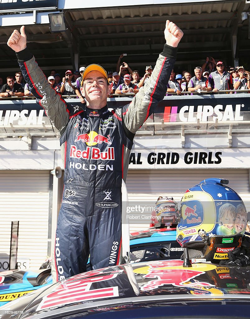 <a gi-track='captionPersonalityLinkClicked' href=/galleries/search?phrase=Craig+Lowndes&family=editorial&specificpeople=213462 ng-click='$event.stopPropagation()'>Craig Lowndes</a> driver of the #888 Red Bull Racing Australia Holden celebrates after winning race one of the Clipsal 500, which is round one of the V8 Supercar Championship Series, at the Adelaide Street Circuit on March 2, 2013 in Adelaide, Australia.