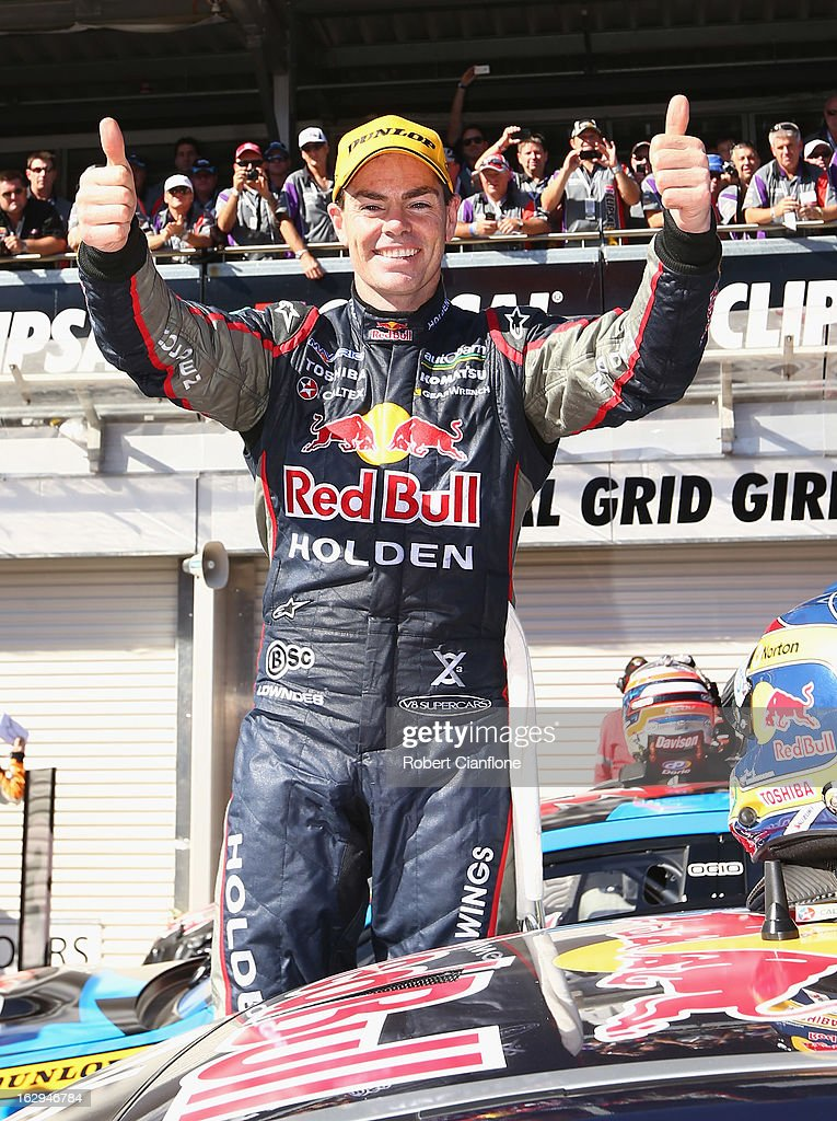 Craig Lowndes driver of the #888 Red Bull Racing Australia Holden celebrates after winning race one of the Clipsal 500, which is round one of the V8 Supercar Championship Series, at the Adelaide Street Circuit on March 2, 2013 in Adelaide, Australia.