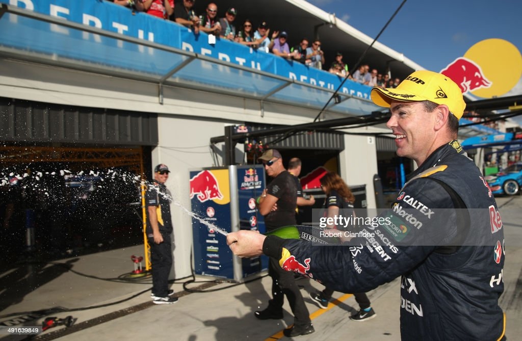 <a gi-track='captionPersonalityLinkClicked' href=/galleries/search?phrase=Craig+Lowndes&family=editorial&specificpeople=213462 ng-click='$event.stopPropagation()'>Craig Lowndes</a> driver of the #888 Red Bull Racing Australia Holden celebrates after winning race 15 at the Perth 400, which is round five of the V8 Supercar Championship Series at Barbagallo Raceway on May 17, 2014 in Perth, Australia.