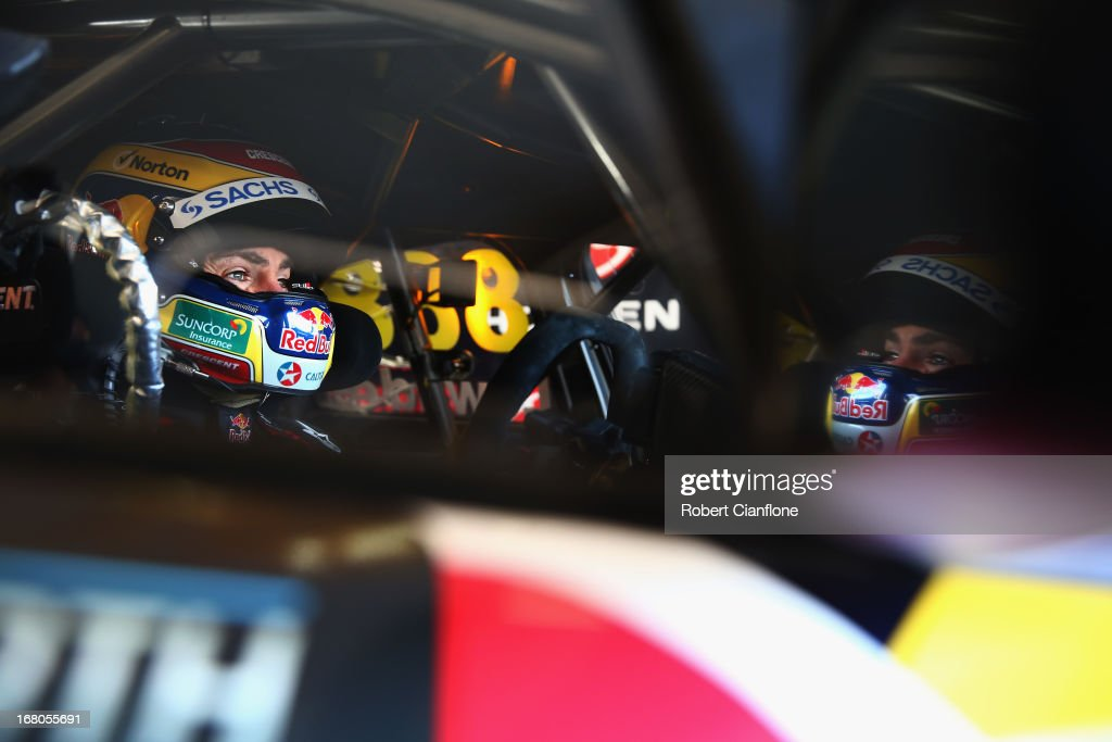 Craig Lowndes driver of the Red Bull Racing Australia Holden sits in his car prior to qualifying for the Perth 360 which is round four of the V8...
