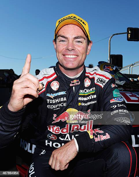 Craig Lowndes driver of the Red Bull Racing Holden VF Commodore reacts after winning race 2 for the V8 Supercars Tasmania SuperSprint at Symmons...