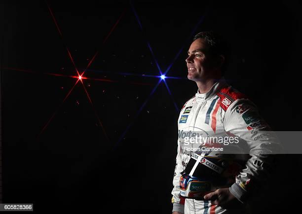 Craig Lowndes driver of the Team Vortex Holden poses during a V8 Supercars portrait session at Sandown International Motor Raceway on September 15...