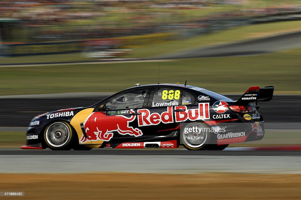 Craig Lowndes drives the Red Bull Racing Australia Holden Commodore VF in race 7 during the V8 Supercars Perth Supersprint at Barbagallo Raceway on...
