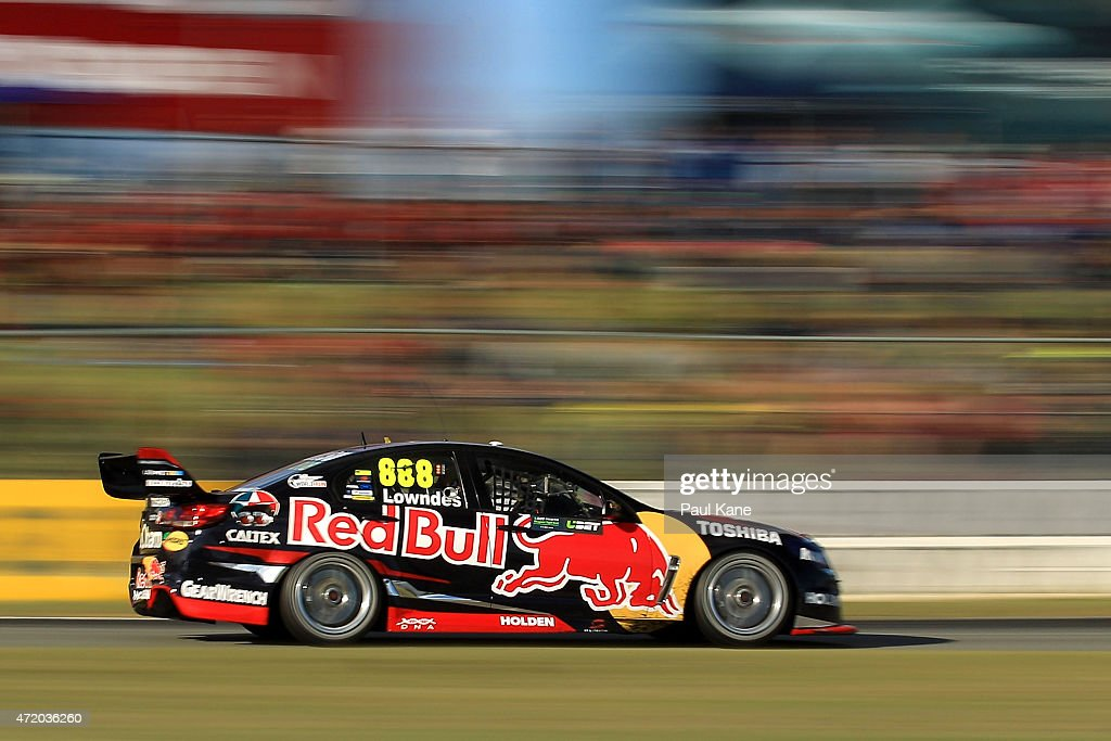 Craig Lowndes drives the Red Bull Racing Australia Holden Commodore VF in race 9 during the V8 Supercars Perth Supersprint at Barbagallo Raceway on...
