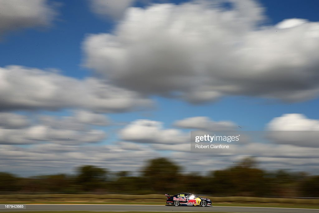 Craig Lowndes drives the Red Bull Racing Australia Holden during practice for the Perth 360 which is round four of the V8 Supercar Championship...