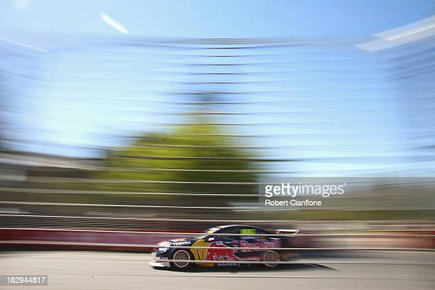 Craig Lowndes drives the Red Bull Racing Australia Holden during race one of the Clipsal 500 which is round one of the V8 Supercar Championship...