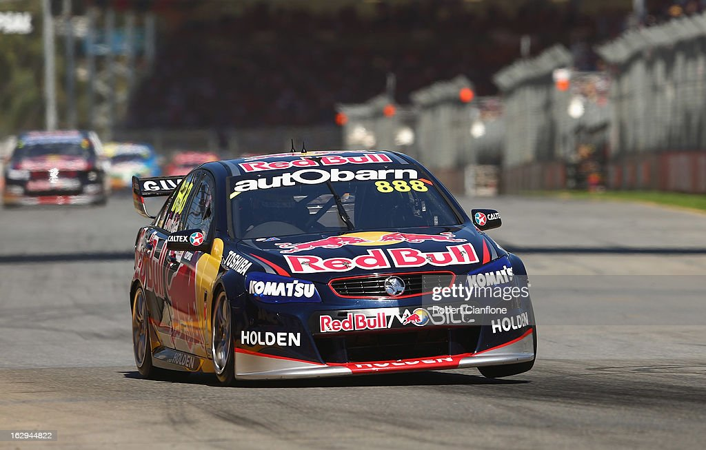 Craig Lowndes drives the #888 Red Bull Racing Australia Holden during race one of the Clipsal 500, which is round one of the V8 Supercar Championship Series, at the Adelaide Street Circuit on March 2, 2013 in Adelaide, Australia.