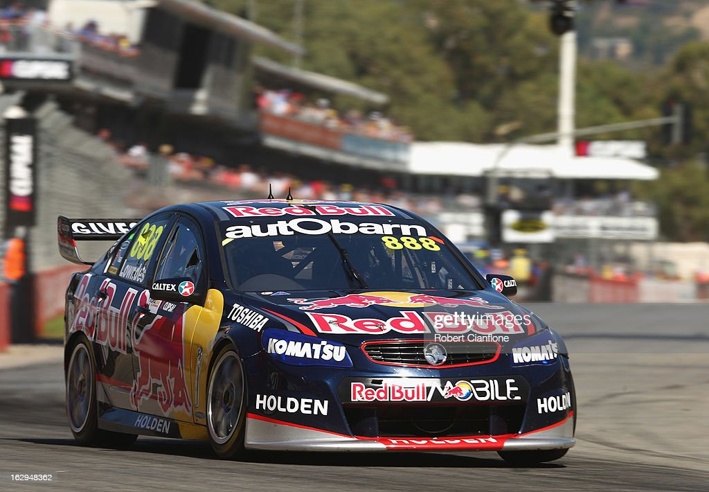 <a gi-track='captionPersonalityLinkClicked' href=/galleries/search?phrase=Craig+Lowndes&family=editorial&specificpeople=213462 ng-click='$event.stopPropagation()'>Craig Lowndes</a> drives the #888 Red Bull Racing Australia Holden during race one of the Clipsal 500, which is round one of the V8 Supercar Championship Series, at the Adelaide Street Circuit on March 2, 2013 in Adelaide, Australia.