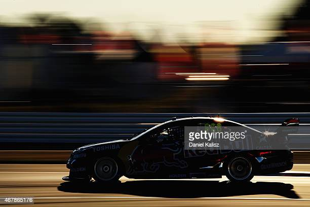 Craig Lowndes drives the Red Bull Racing Holden VF Commodore during race 2 for the V8 Supercars Tasmania SuperSprint at Symmons Plains Raceway on...