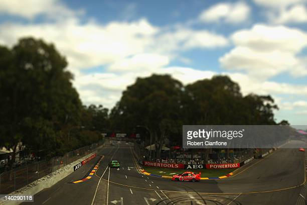 Craig Lowndes drives the Team Vodafone Holden during practice for the Clipsal 500 which is round one of the V8 Supercar Championship Series at the...