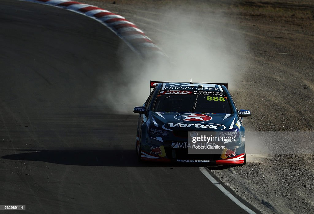 Craig Lowndes drives the Team Vortex Holden during practice ahead of the Winton round of V8 SUpercars at Winton Motor Raceway on May 20 2016 in...