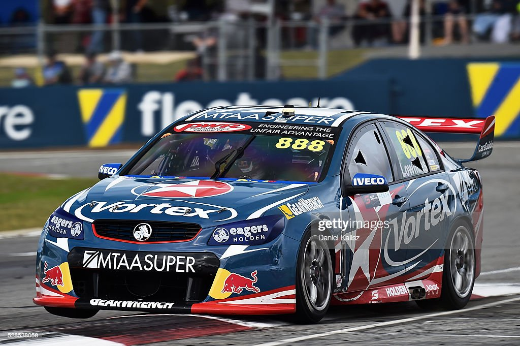 <a gi-track='captionPersonalityLinkClicked' href=/galleries/search?phrase=Craig+Lowndes&family=editorial&specificpeople=213462 ng-click='$event.stopPropagation()'>Craig Lowndes</a> drives the #888 TeamVortex Holden Commodore VF during practice for the V8 Supercars Perth SuperSprint at Barbagallo Raceway on May 6, 2016 in Perth, Australia.