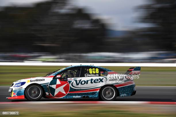 Craig Lowndes drives the TeamVortex Holden Commodore VF during qualifying for race 9 for the Winton SuperSprint which is part of the Supercars...