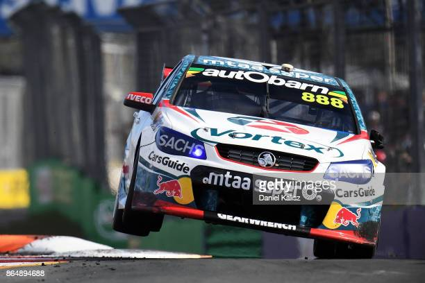 Craig Lowndes drives the TeamVortex Holden Commodore VF during race 22 for the Gold Coast 600 which is part of the Supercars Championship at Surfers...